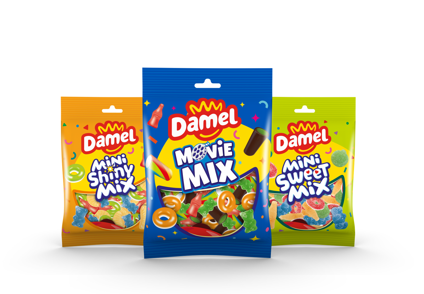 La nueva gama de surtidos de goma de Damel: Movie Mix, Mini Shiny Mix y Mini Sweet Mix.